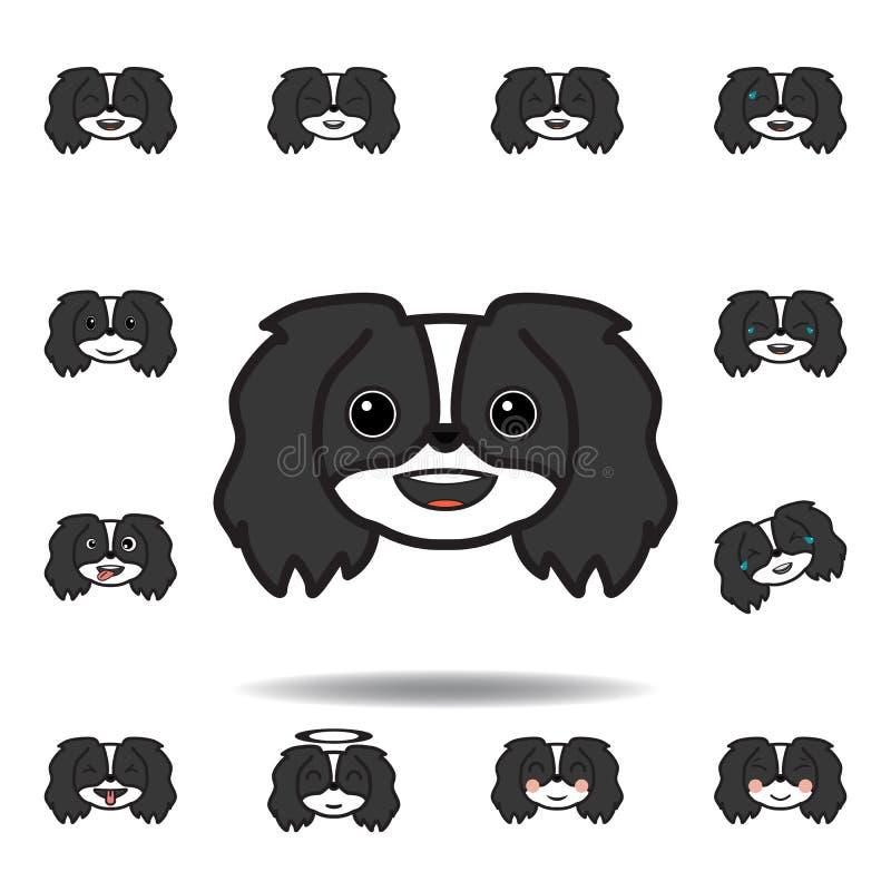pekingese emoji uśmiechający się stubarwna ikona Set pekingese emoji ilustracji ikony Znaki, symbole mogą używać dla sieci, logo, royalty ilustracja