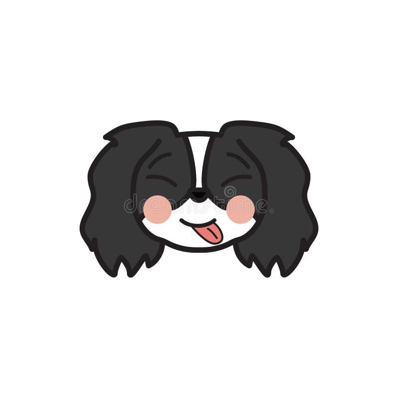 Pekingese, emoji, yum, расслабленный пестротканый значок Знаки и значок символов можно использовать для сети, логотипа, мобильног иллюстрация штока