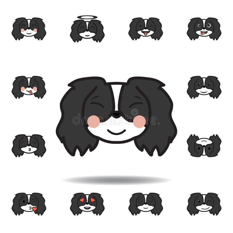 pekingese emoji zrelaksowana stubarwna ikona Set pekingese emoji ilustracji ikony Znaki, symbole mogą używać dla sieci, logo, ilustracja wektor