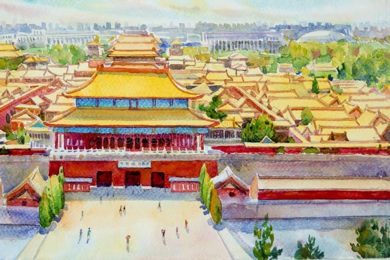 PekingForbidden City landskap i Kina royaltyfri illustrationer