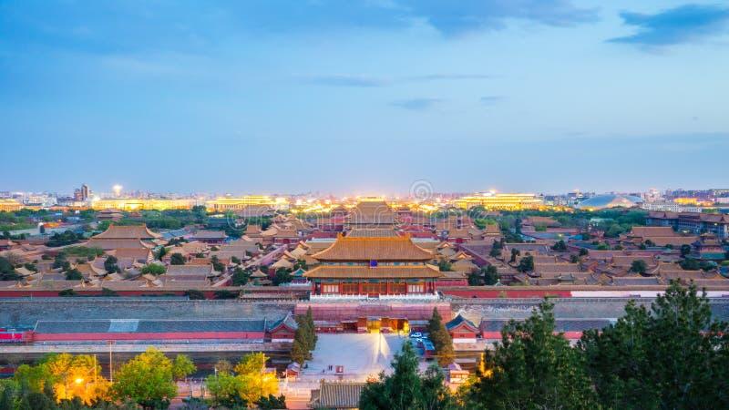 Pekingstadshorisont med Forbidden City i Pekinghuvudstad, Kina arkivbild