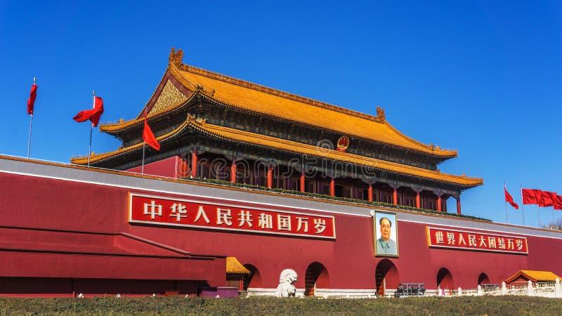 PekingTiananmen fyrkant i Kina royaltyfria bilder