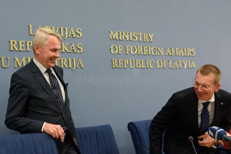 Pekka Haavisto, Minister of Foreign Affairs of Finland and Edgars Rinkevics, Minister of Foreign Affairs of Latvia royalty free stock photography