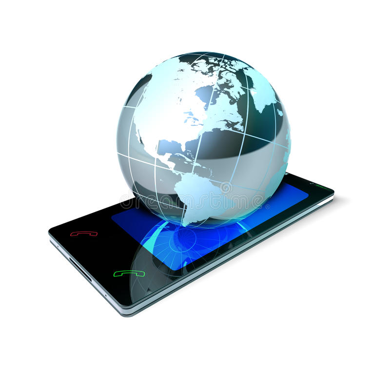 Pekskärmmobiltelefon av nya generationen med världen över vektor illustrationer