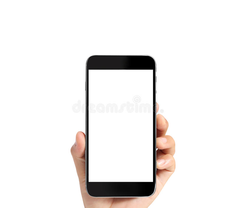Pekskärmsmartphone i hand arkivbilder