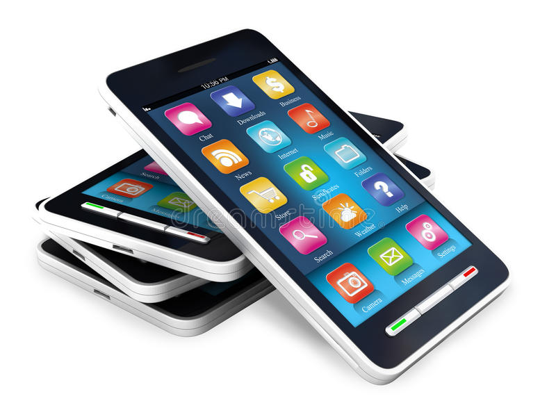 Pekskärmsmartphones arkivfoto