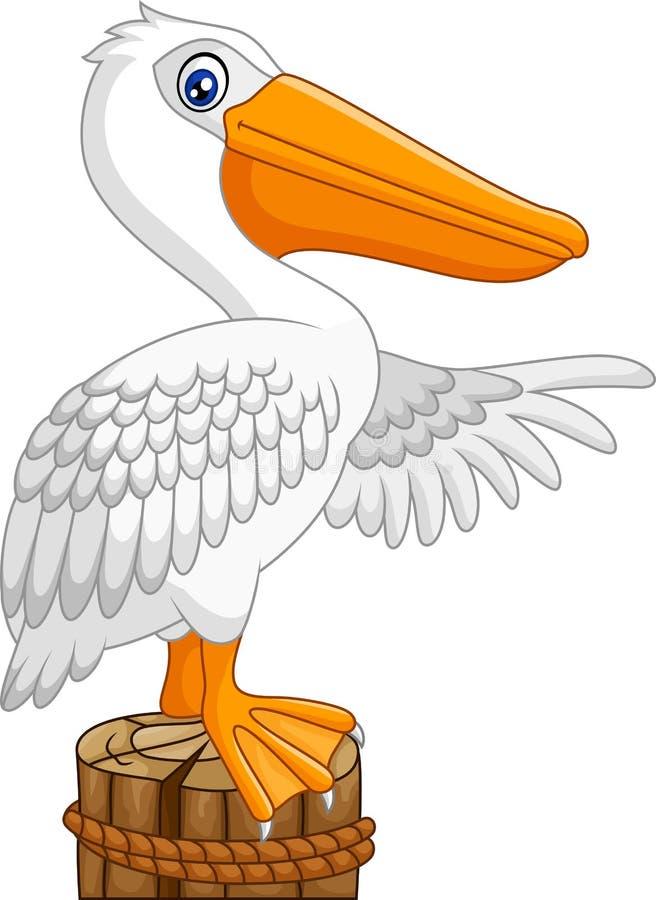 Pelícano de la historieta en la bahía stock de ilustración