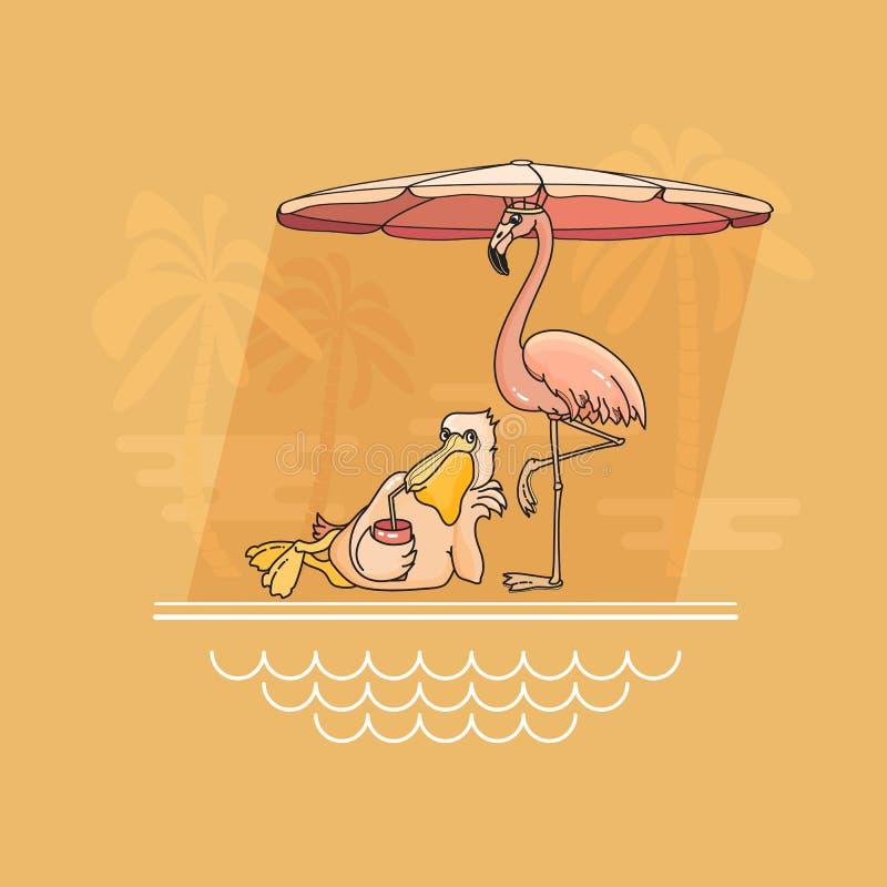 Pelícano y flamenco que se relajan por la piscina Ilustración del vector ilustración del vector