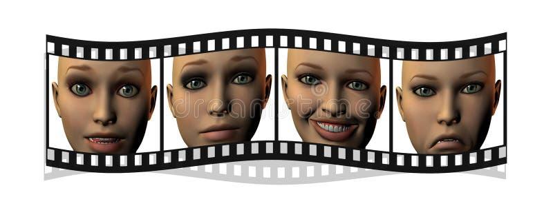 Película con las caras de la muchacha en 3D aisladas en blanco stock de ilustración