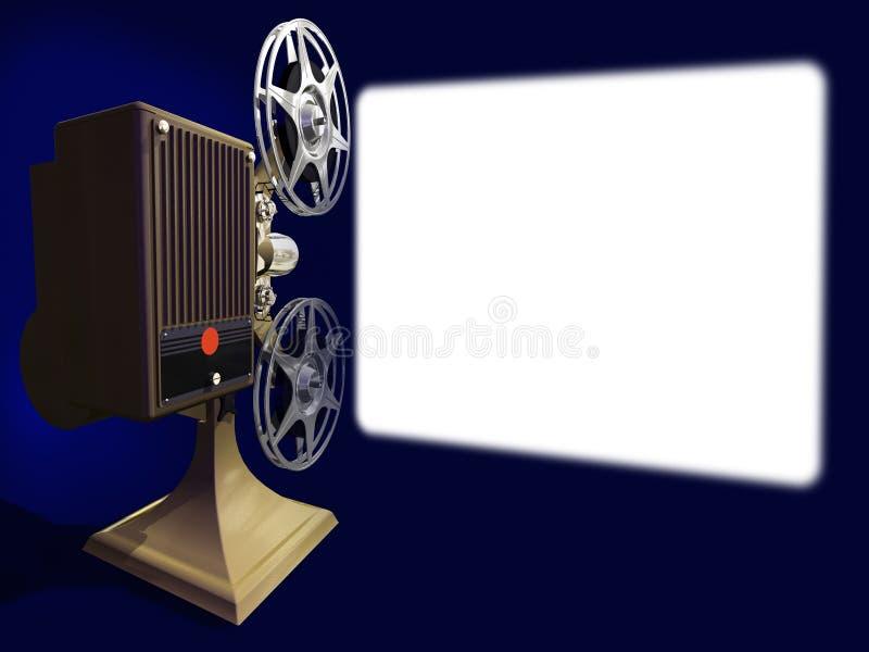 Película da mostra do projetor de película na tela vazia ilustração stock