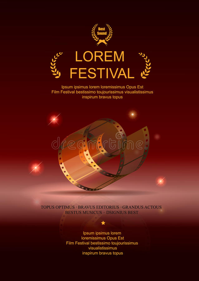 Película de la cámara 35 milímetros de oro del rollo, cartel de película del festival ilustración del vector