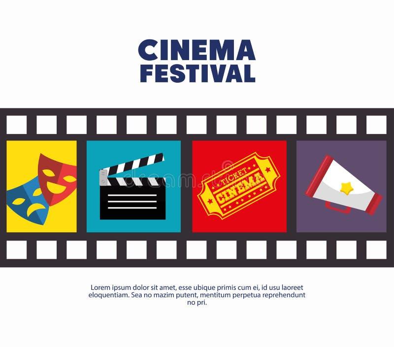 Película de los iconos de la película de tira del festival del cine del cartel stock de ilustración
