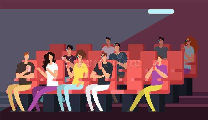 Película de observación de la gente en interior del pasillo del cine Familia de la historieta en concepto del vector del teatro ilustración del vector