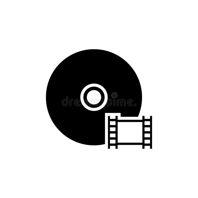 Película del disco, icono plano del vector del DVD CD video ilustración del vector