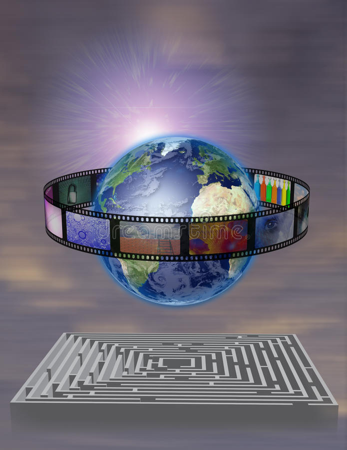 Película do mundo com labirinto ilustração stock