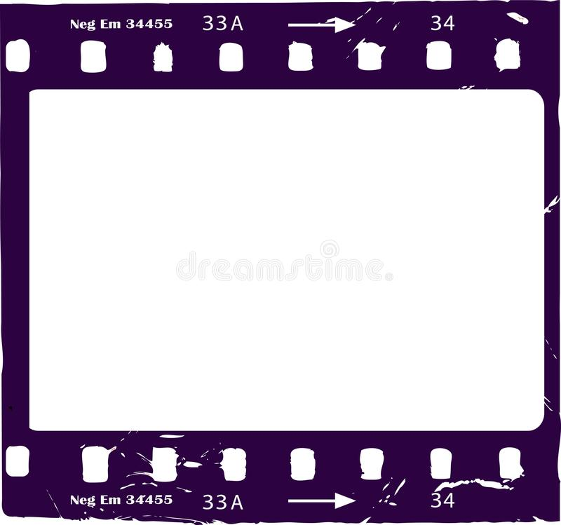 Película fotográfica, negativa de película del grunge, marco de la foto, ilustración del vector