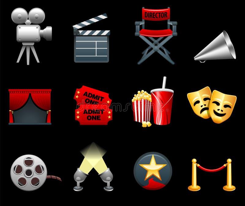 Película y colección del icono de la industria de películas ilustración del vector