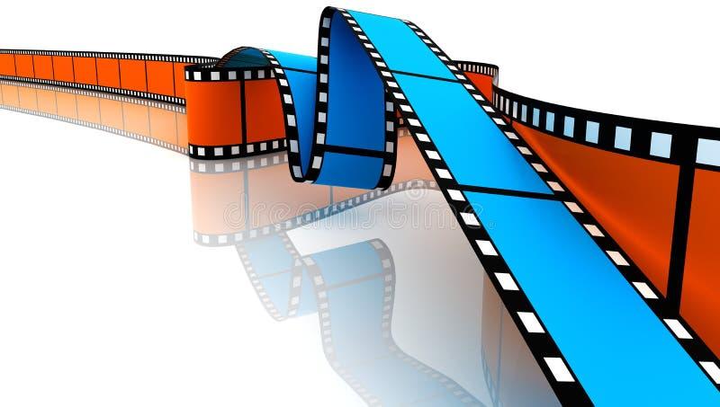 Películas 3d em branco azuis e alaranjadas ilustração stock
