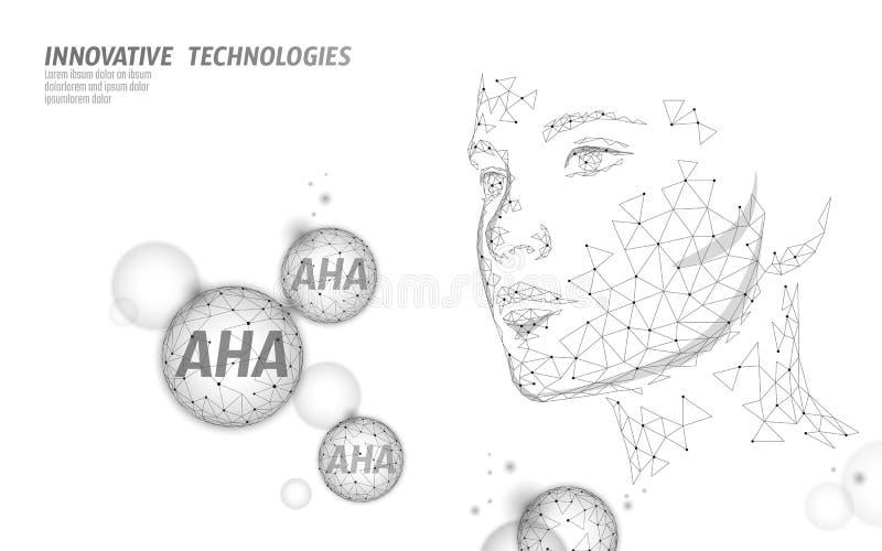 Peladura del salón de belleza del ácido de la fruta Suero facial de la cara AHA del rejuvenecimiento antienvejecedor exfoliant gl ilustración del vector