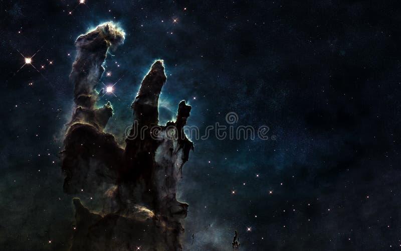 Pelare av skapelsen Djupt avstånd Härligt kosmiskt landskap Beståndsdelar av bilden möbleras av NASA royaltyfri foto