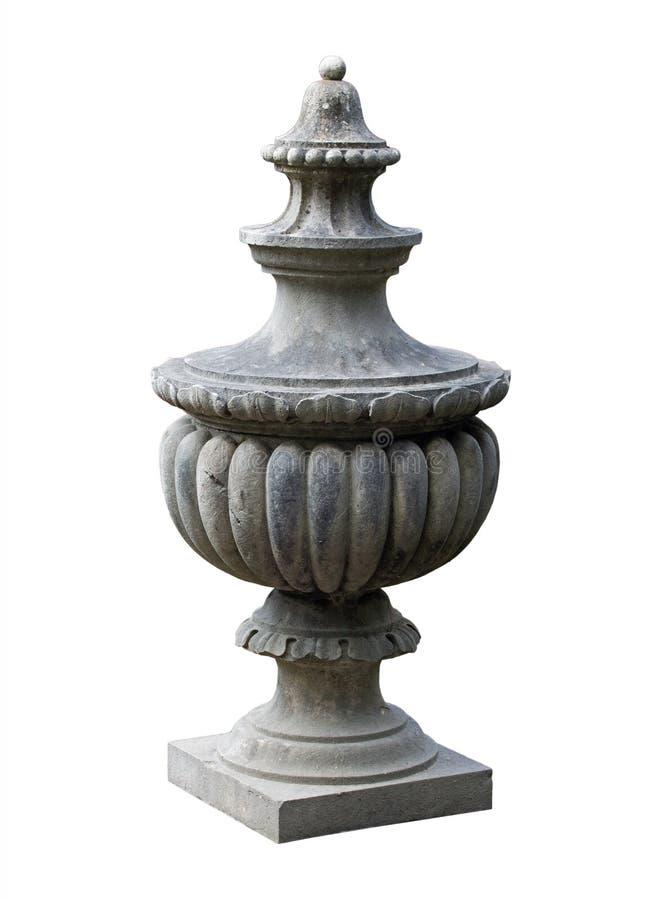Pelare för dekorativ sten på vit bakgrund royaltyfri bild