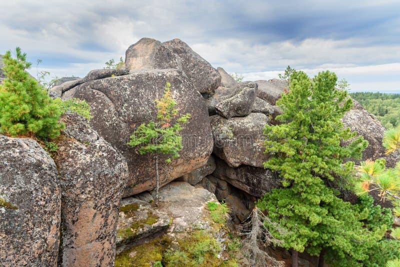 Pelare fjärdedelen Rysk fristad för reservStolby natur Nära Krasnoyarsk royaltyfria bilder