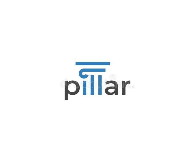 Pelare Logo Template Kolonnvektordesign royaltyfri illustrationer