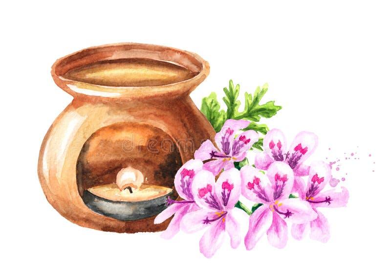 Pelargonium graveolens or Pelargonium x asperum, geranium flower essential oil and aroma lamp. Watercolor hand drawn illustration. Isolated on white background stock illustration