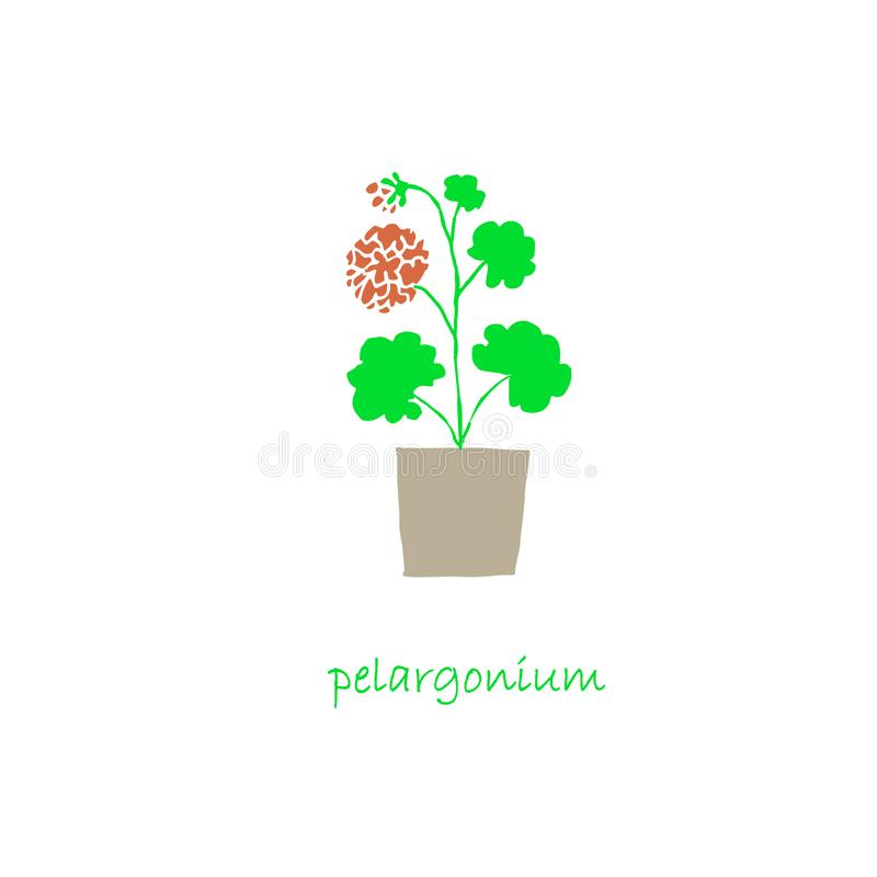 Pelargonium plant in pot icon set flat design object isolated. Stock vector illustration for web, for print vector illustration