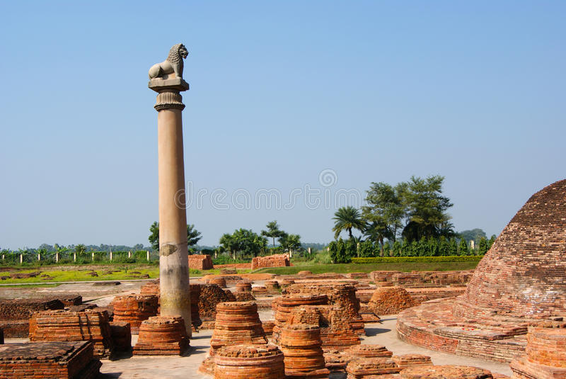 Pelarna grundar på Vaishali med enkel lejonhuvudstad arkivfoton