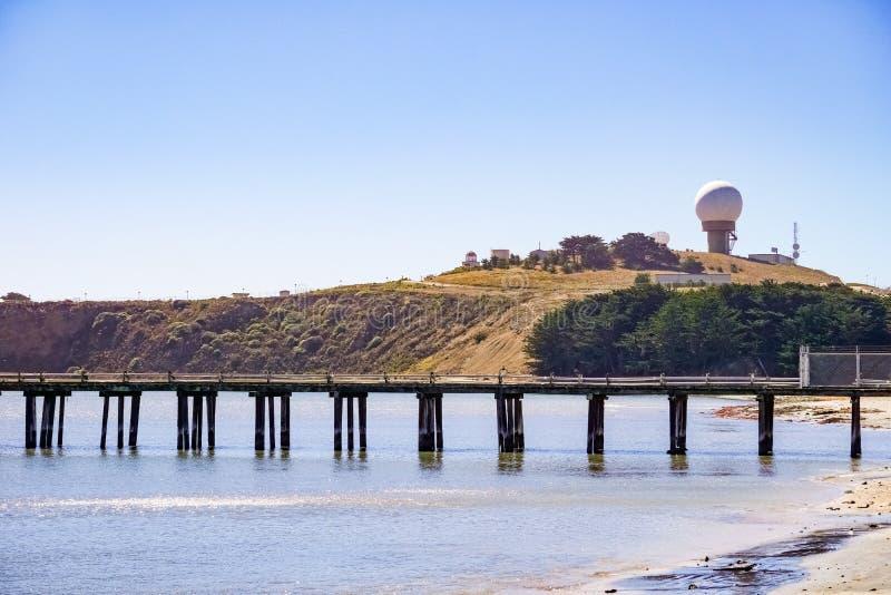 Pelarpunktbluff, Stilla havetkustlinje, Half Moon Bay, Kalifornien arkivbild