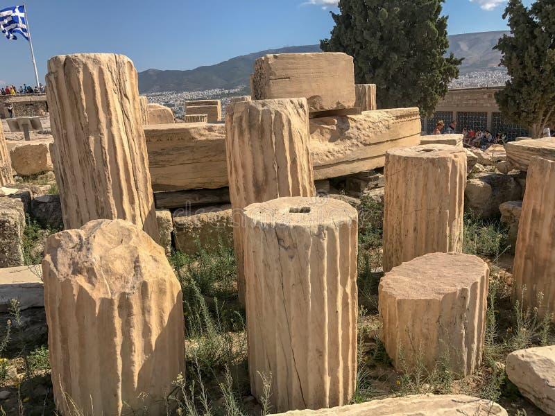 Pelarsegment på akropolen, Aten, Grekland arkivfoto