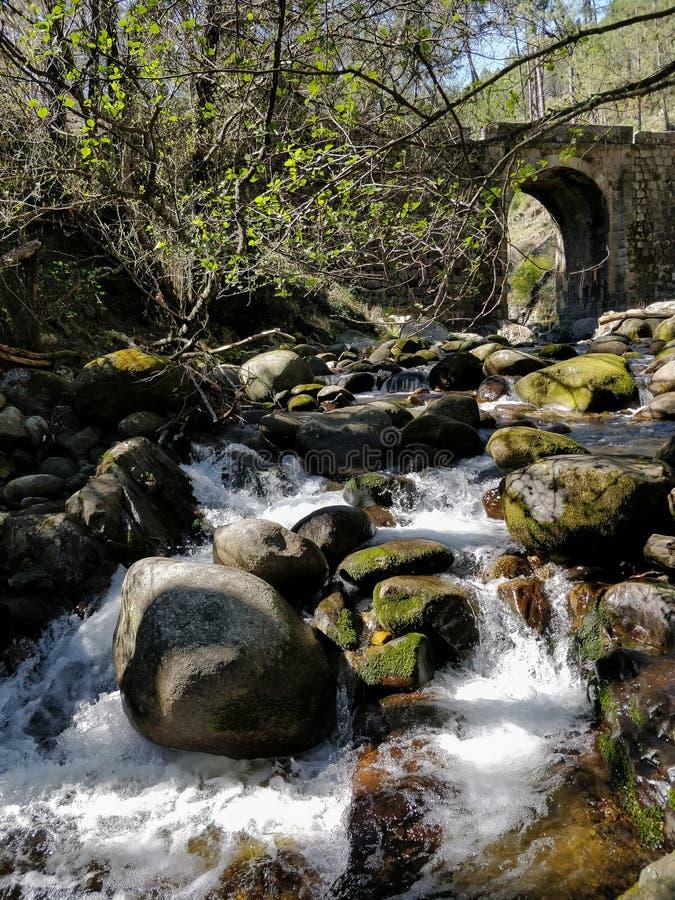 Pelayos-Fluss in Spanien, mit einer Brücke lizenzfreies stockbild