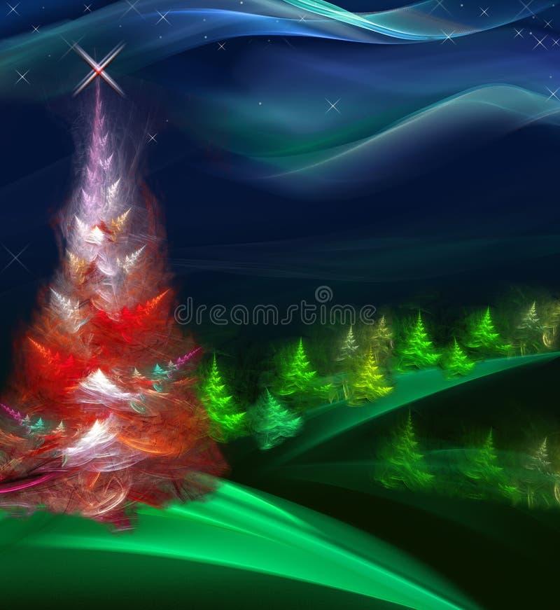 Pele-árvore do Natal na floresta da noite ilustração do vetor