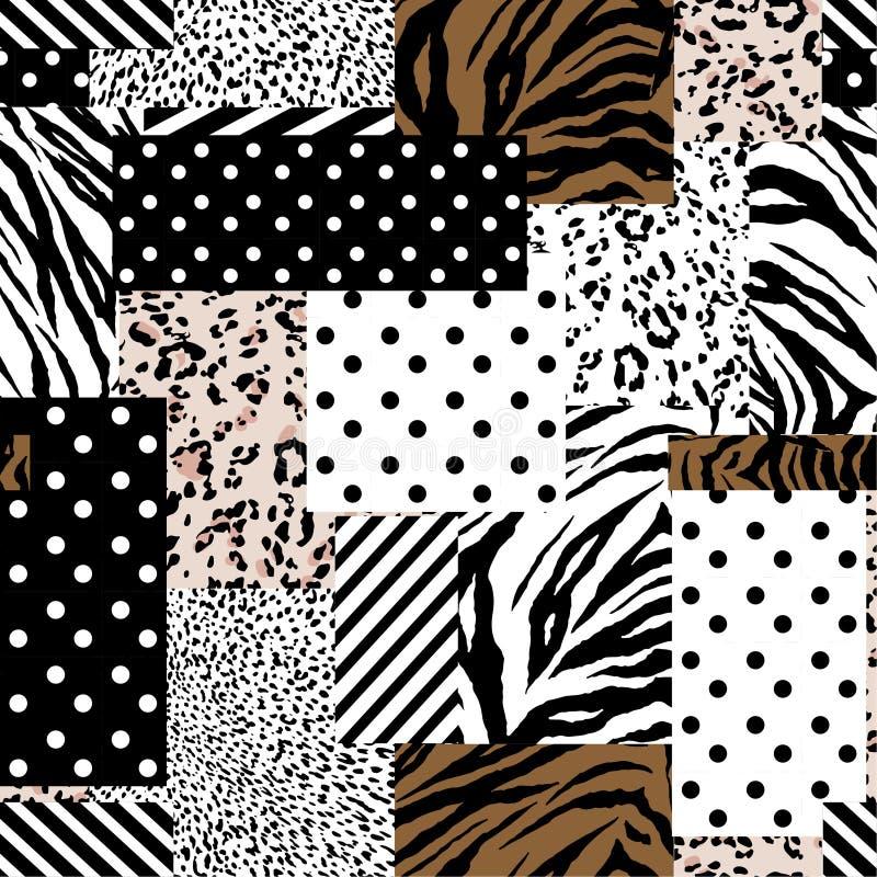 Pele animal na moda misturada com o teste padrão, os às bolinhas e a listra geométricos no projeto sem emenda do estilo moderno d ilustração do vetor