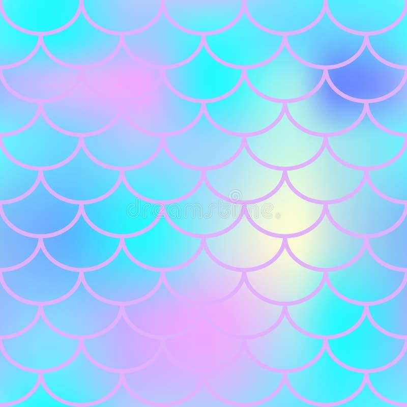 Pele azul dos peixes com teste padrão da escala Fundo da sereia ilustração stock