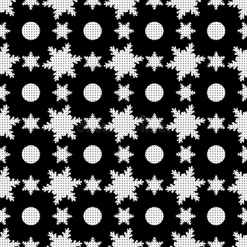 Pele Dalmatian Flocos de neve bonitos do Natal do às bolinhas Teste padr?o sem emenda do inverno Vetor Eps10 ilustração stock