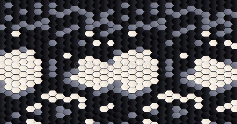 Pele de serpente Pattern Textura preto e branco do couro da pele Teste padrão da pele animal Fundo da tela da forma réptil ilustração do vetor