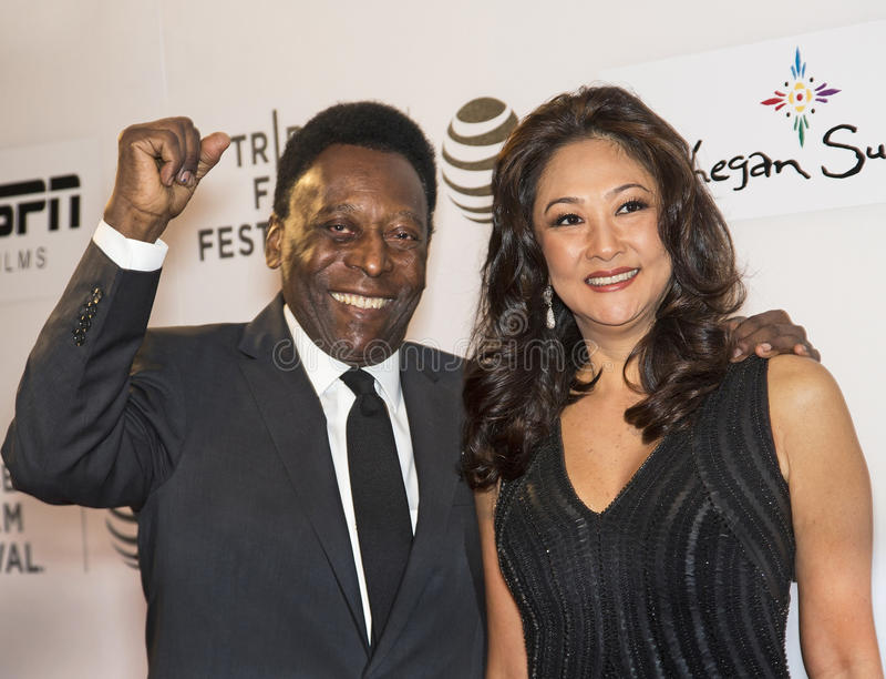 Pele och fru Marcia Aoki arkivbild