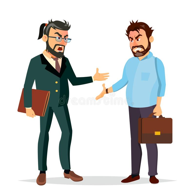Pelea Boss Vector Caracteres de los oficinistas Conflicto desacuerdos Emociones negativas Gente de pelea enojado libre illustration