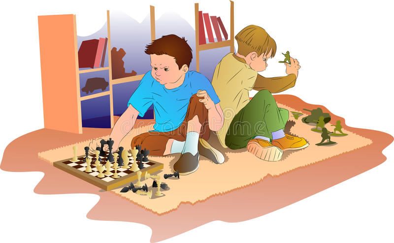Pelea de dos niños pequeños stock de ilustración