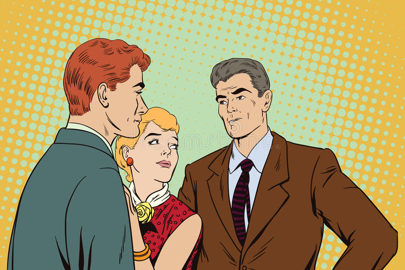 pelea Dos individuos que discuten sobre una muchacha libre illustration