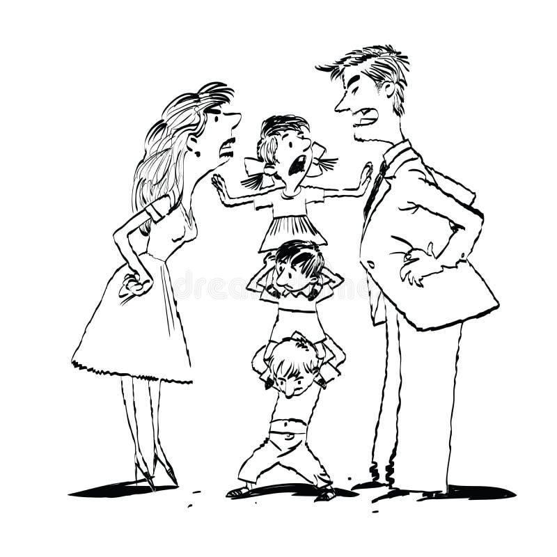 Pelee en la familia, mamá y la lucha del papá, niños calma stock de ilustración