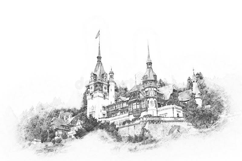 Peles城堡剪影在喀尔巴阡山脉 向量例证