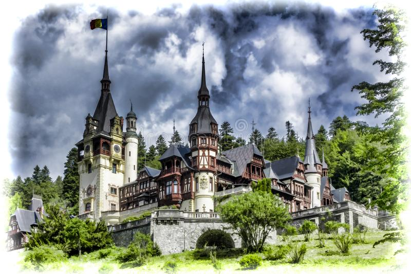 Peles城堡在锡纳亚在罗马尼亚 向量例证