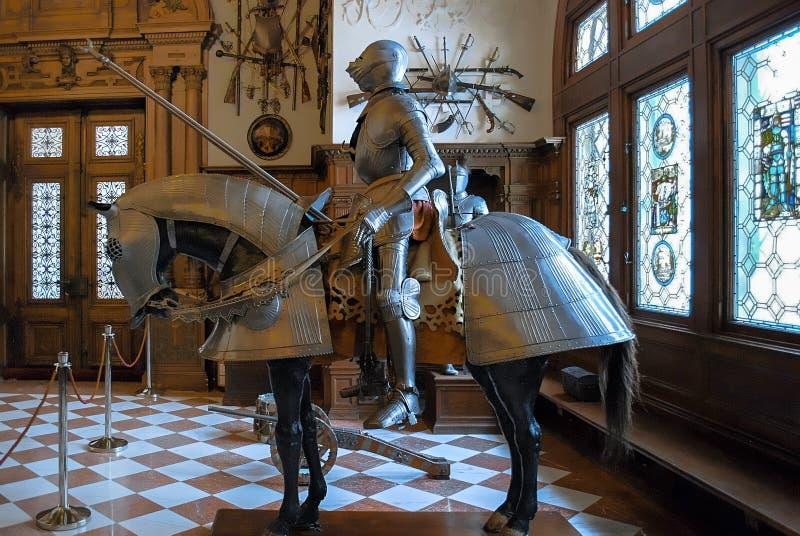 Peles城堡,罗马尼亚- 2017年12月26日:武器装备房间  库存图片
