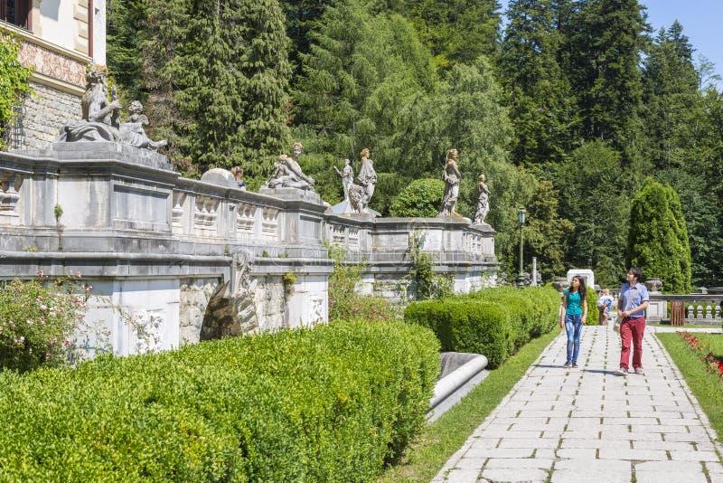 Peles castle garden royalty free stock images