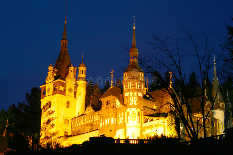 Peles Castle in night time stock photos