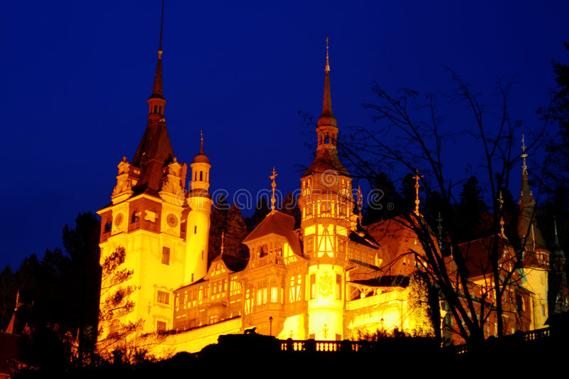 Peles Castle in night time stock photo