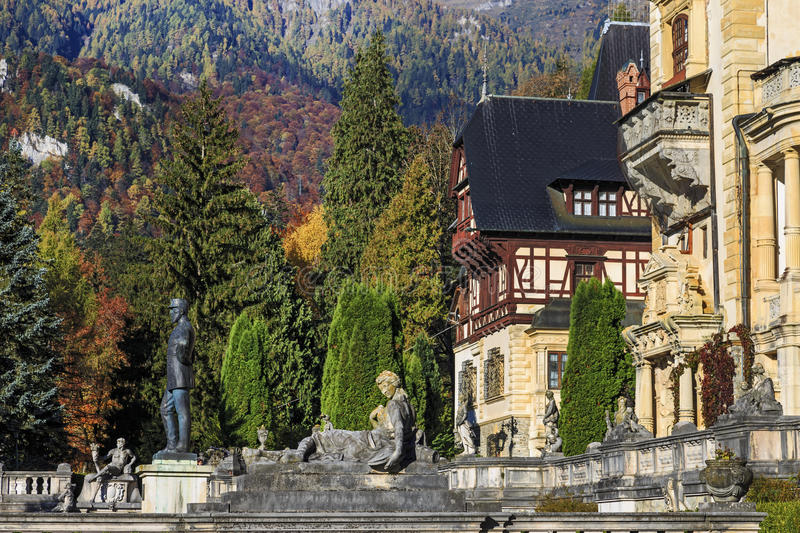 Peles Castle, Romania. Famous royal and garden in Sinaia royalty free stock image
